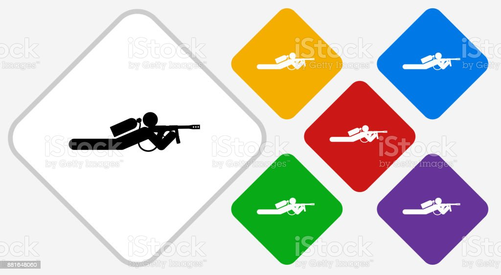 Person Shooting on the Ground Color Diamond Vector Icon vector art illustration