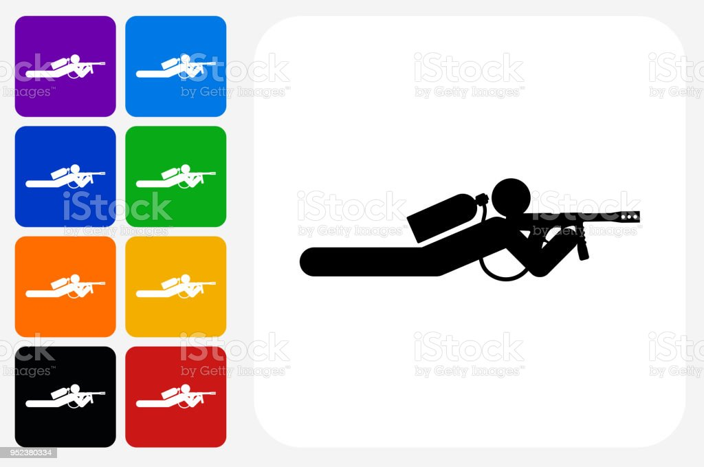 Person Shooting on the Ground Icon Square Button Set vector art illustration