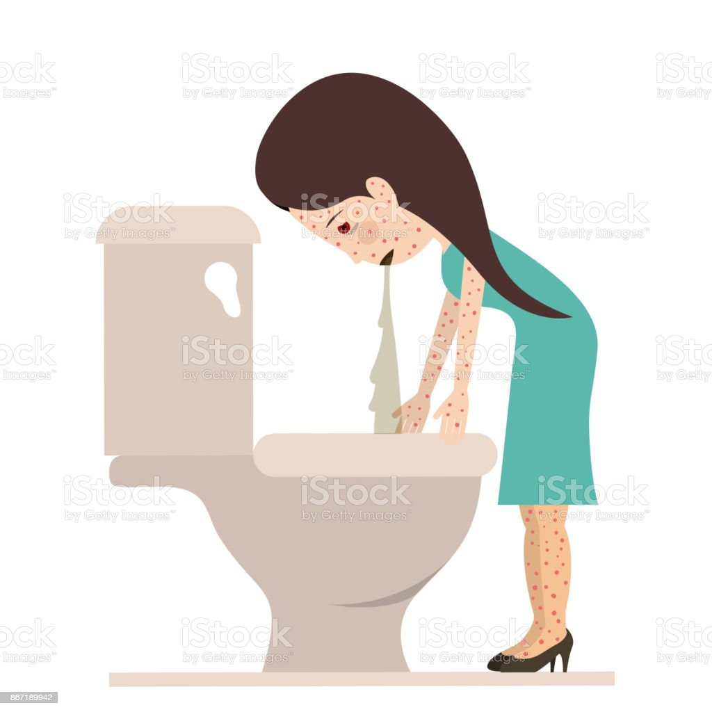person sick with vomiting vector art illustration