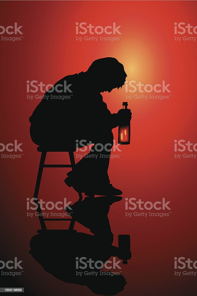 Person sitting alone on a stool drinking vector art illustration