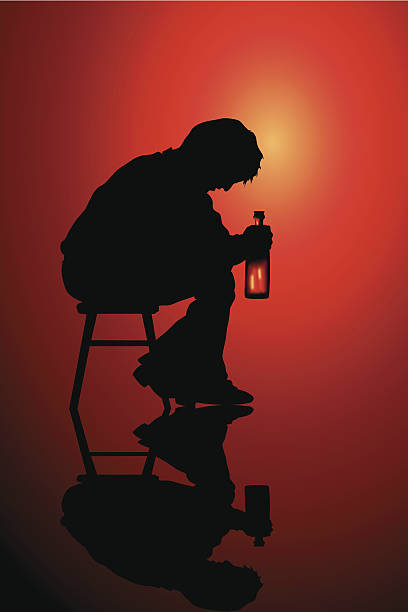 person sitting alone on a stool drinking - office party stock illustrations, clip art, cartoons, & icons