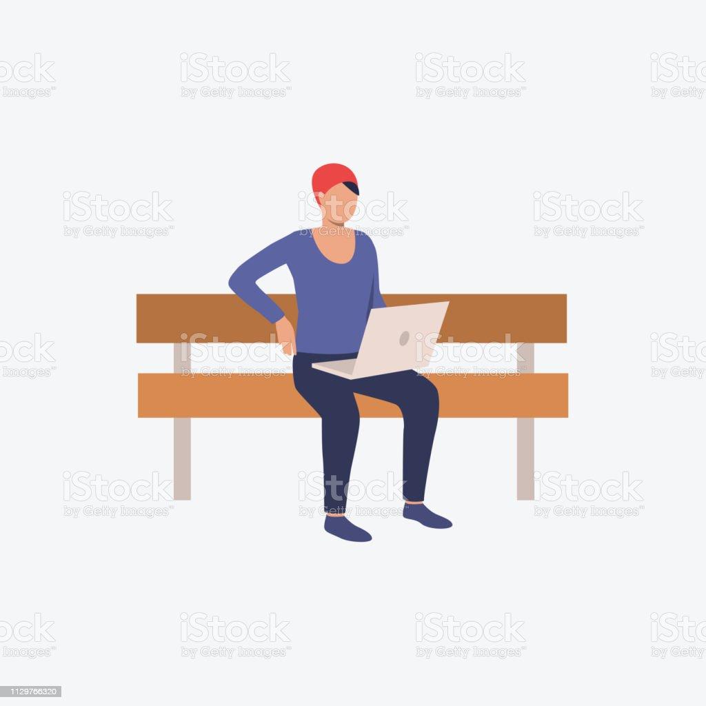 Op Een Bankje.Persoon Zittend Op Een Bankje En Browsen Op Laptopcomputer