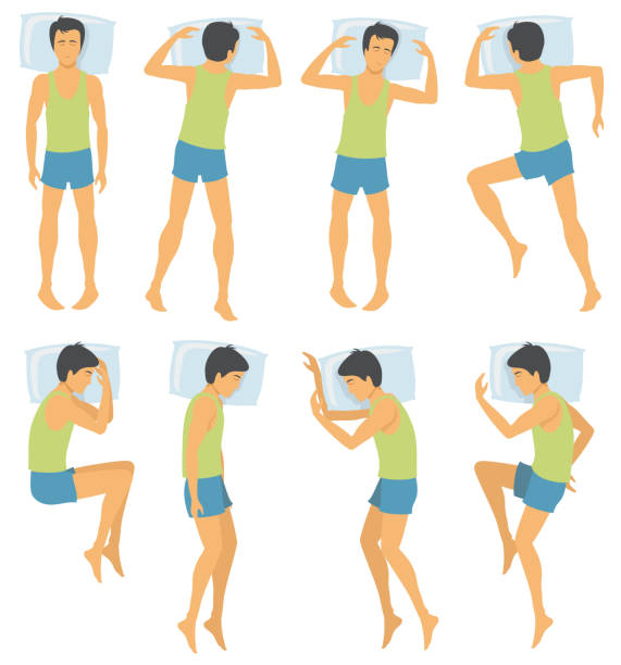 ilustrações de stock, clip art, desenhos animados e ícones de person sleep positioning, man in different sleeping poses in bed. vector illustration - posição