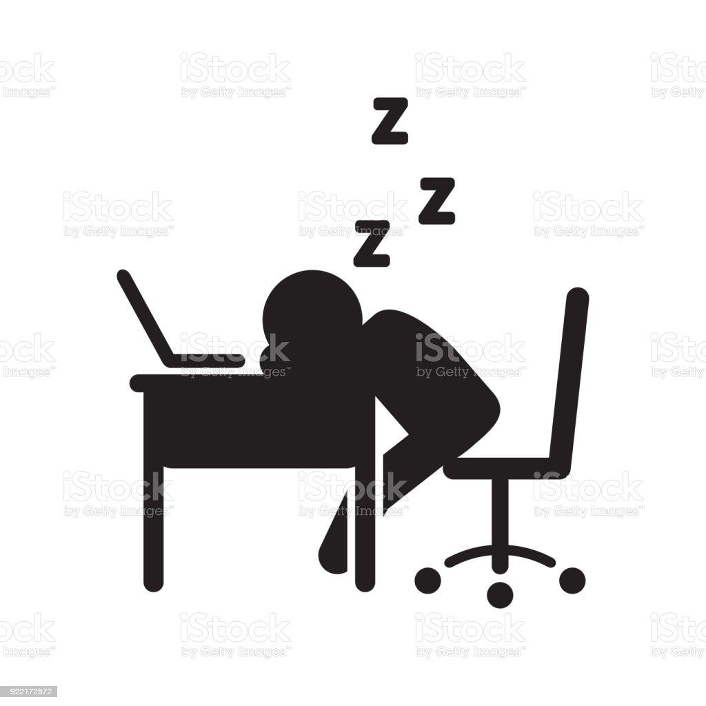 デスク ベクトル アイコンで眠っている人ベクトルの図 アイコンの