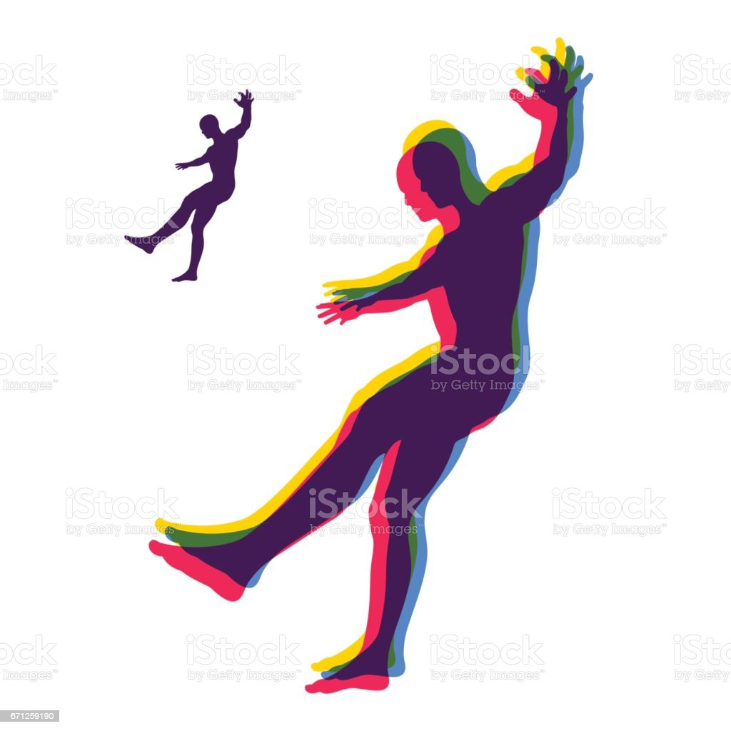 Person slipping and falling. Silhouette of a Man Fallen Down. vector art illustration