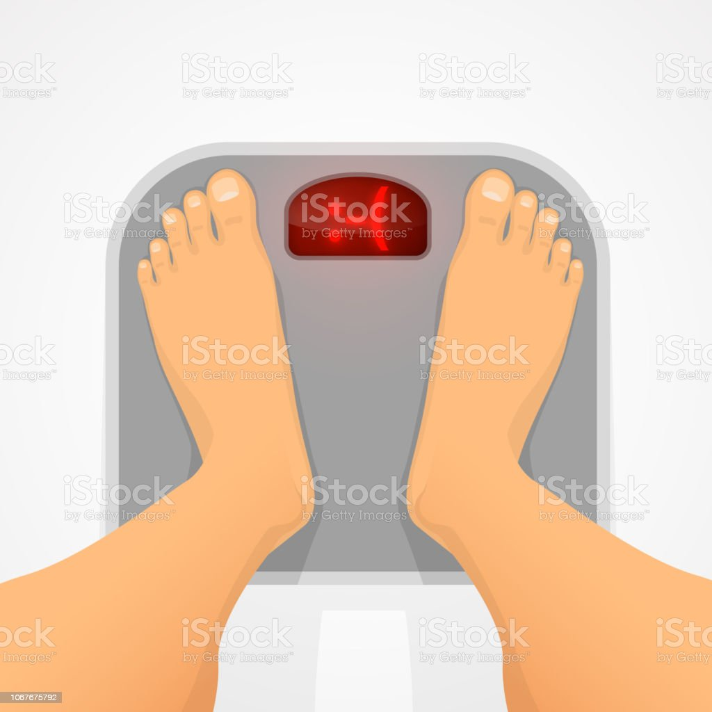 Cartoon Of A Fat Man Standing Weight Scale Illustrations