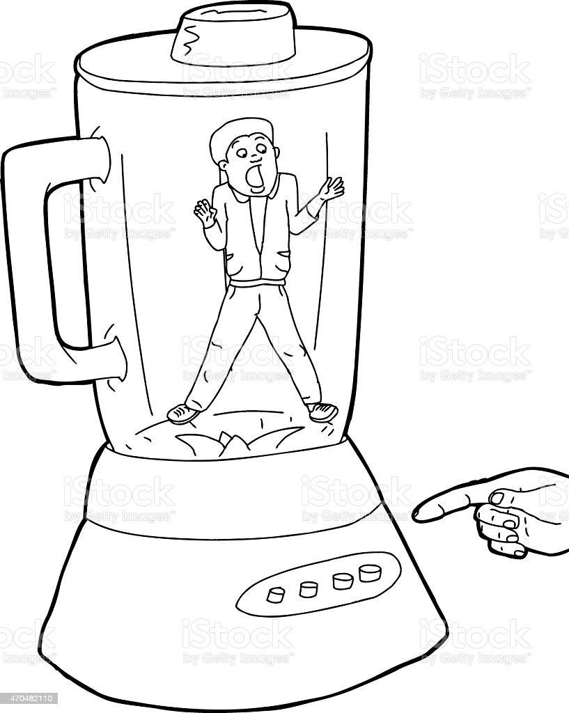 Person Stuck in Blender Outline vector art illustration