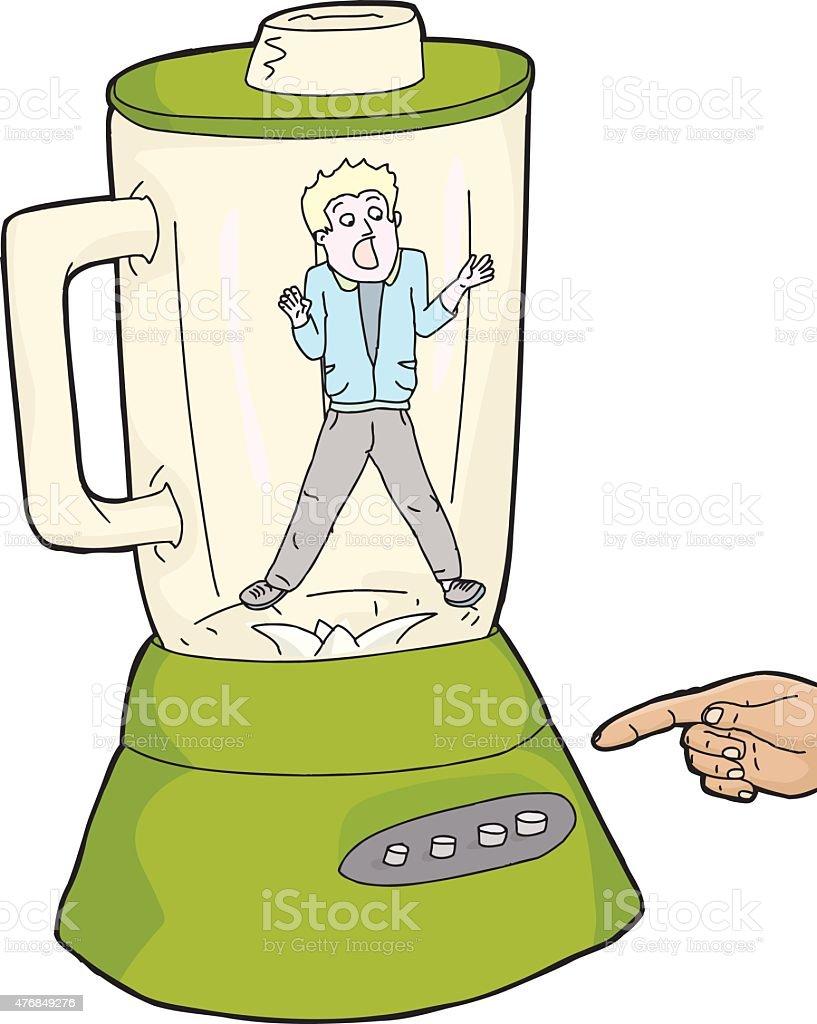 Person Stuck Inside Blender vector art illustration
