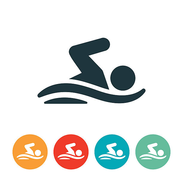 Person Swimming Icon vector art illustration
