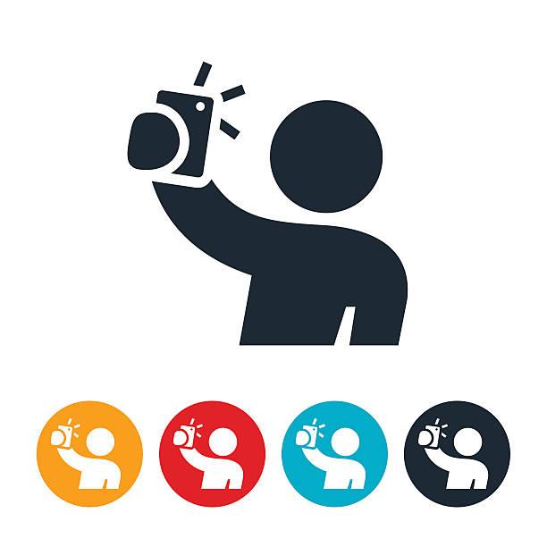 person ein selfie aufnehmen-symbol - selfie stock-grafiken, -clipart, -cartoons und -symbole