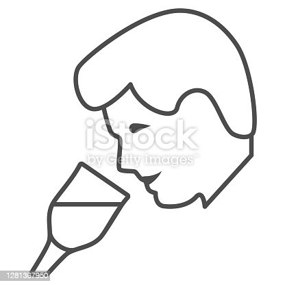 Person taste wine thin line icon, Wine festival concept, man smelling liquid in glass sign on white background, Man drinks wine from glass icon in outline style for mobile. Vector graphics