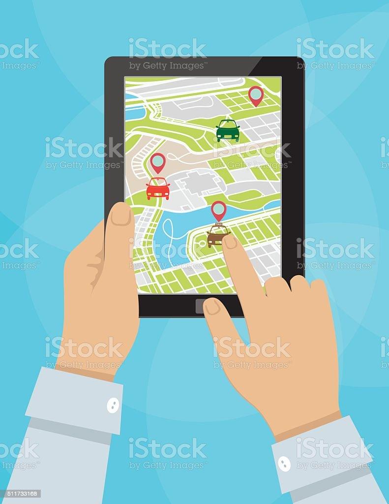 Personne utilisant le covoiturage Application Mobile sur une tablette - Illustration vectorielle