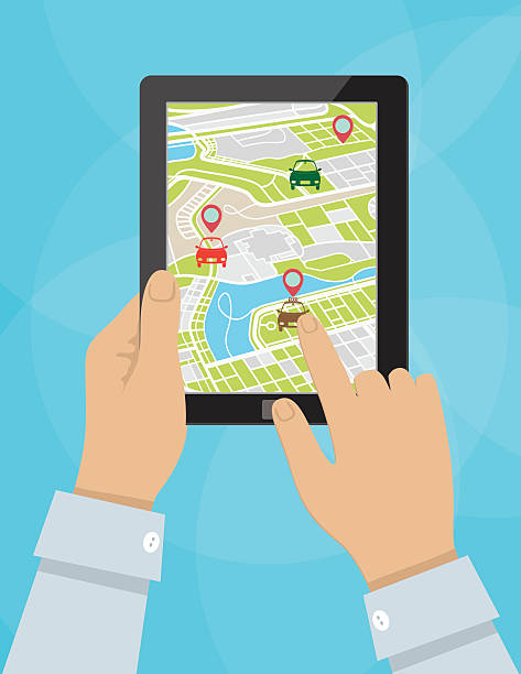 Person Using A Rideshare Mobile Application On A Tablet vector art illustration