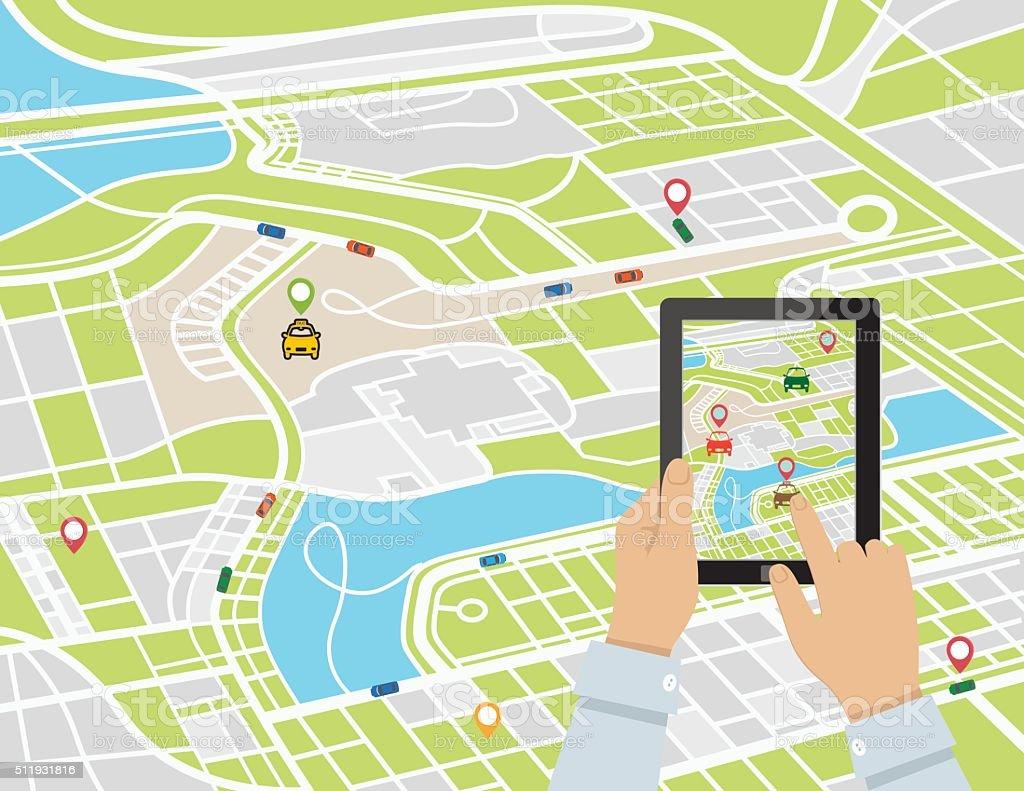 Persona con un Rideshare aplicación móvil en un comprimido - ilustración de arte vectorial