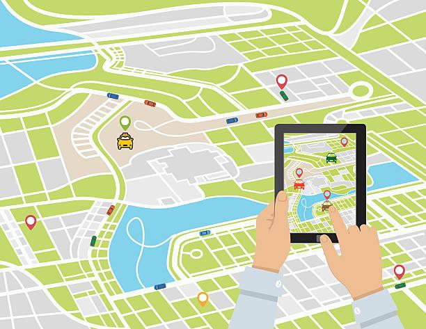person mit einem rideshare mobile app auf einem tablet - smart city stock-grafiken, -clipart, -cartoons und -symbole