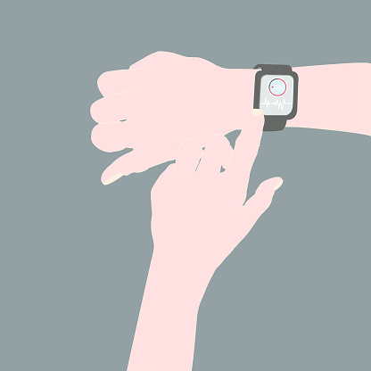 A person using an app on the watch to monitor heart rate