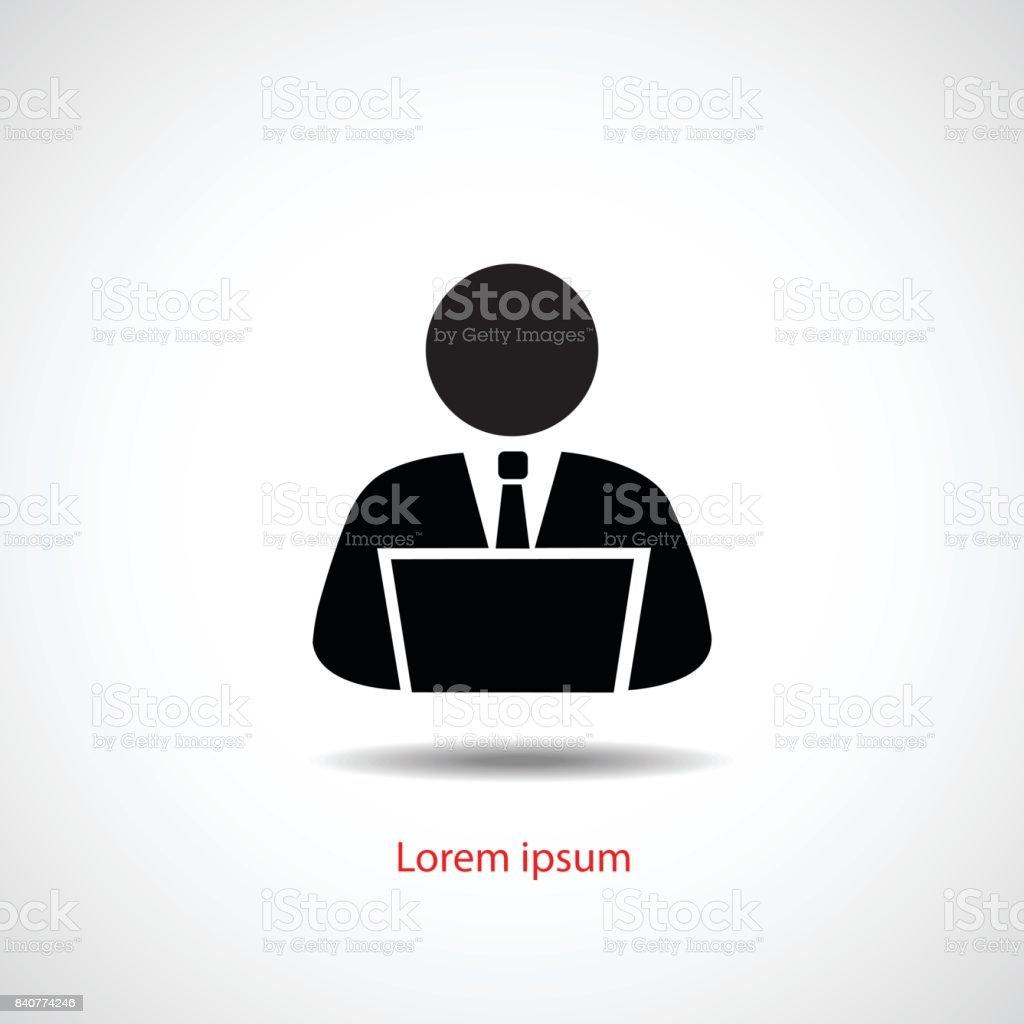 Person using computer, vector icon flat design. vector art illustration