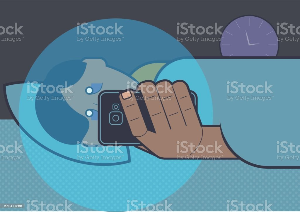 Person using mobile phone in bed vector art illustration