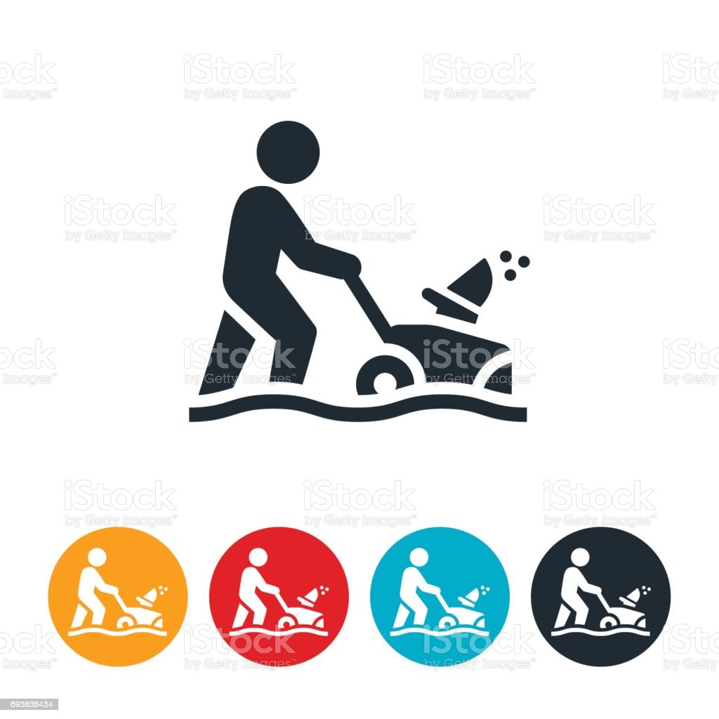Person Using Snowblower Icon vector art illustration