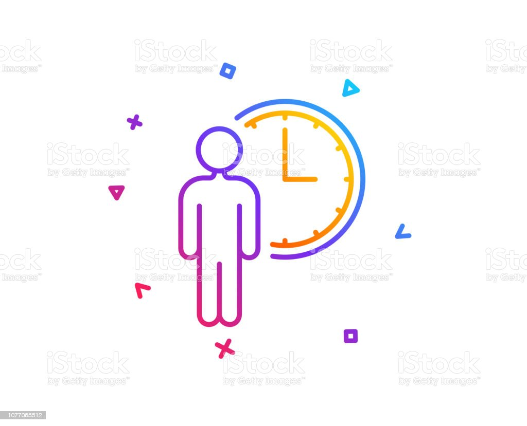 Person waiting line icon. Service time sign. Clock symbol. Gradient...
