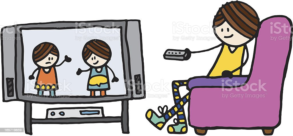 royalty free woman watching tv clip art vector images rh istockphoto com watching tv clipart black and white watching tv clipart black and white