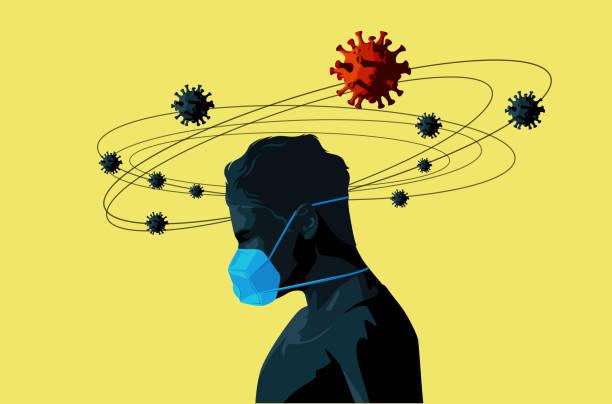 Person trägt ein Gesicht Maske Covid-19 medizinisches Konzept – Vektorgrafik