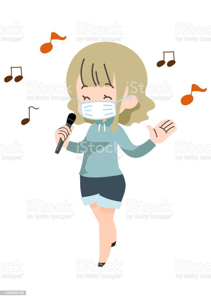 マスクをして歌っている人 - 20代のロイヤリティフリーベクトルアート