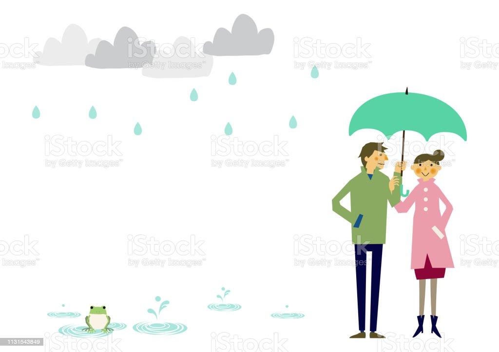 レインコートを着ている人梅雨の季節のクリップアート傘を置く男と女雨の