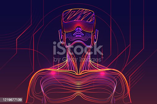Illustration of a person in virtual reality headset. Abstract lines on background