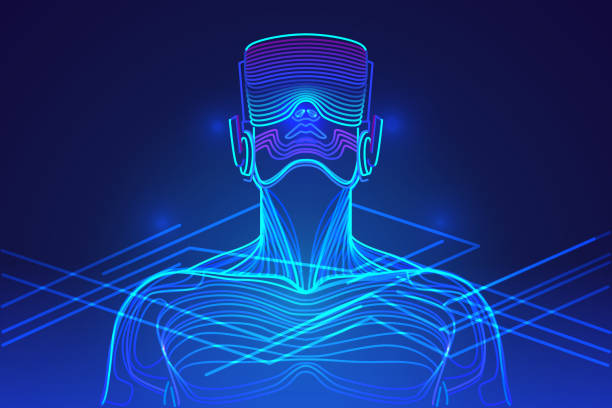 Person wearing virtual reality glasses. Abstract vr world with neon lines. Vector illustration Virtual reality technology for entertainment and learning vr stock illustrations