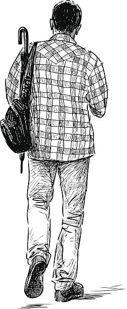 person with an umbrella - plaid shirt stock illustrations