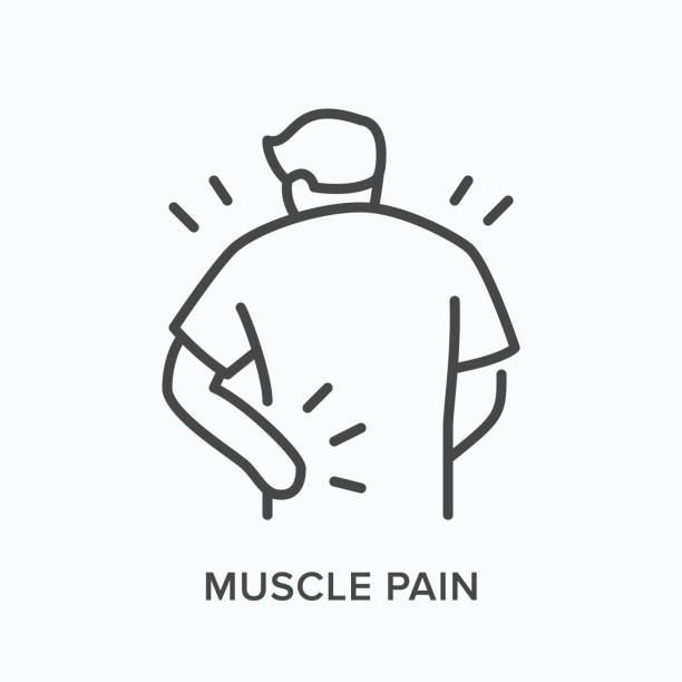 Person with backache line icon. Vector outline illustration man with musle pain. Human with spine problems Person with backache line icon. Vector outline illustration man with musle pain. Human with spine problems. relief emotion stock illustrations