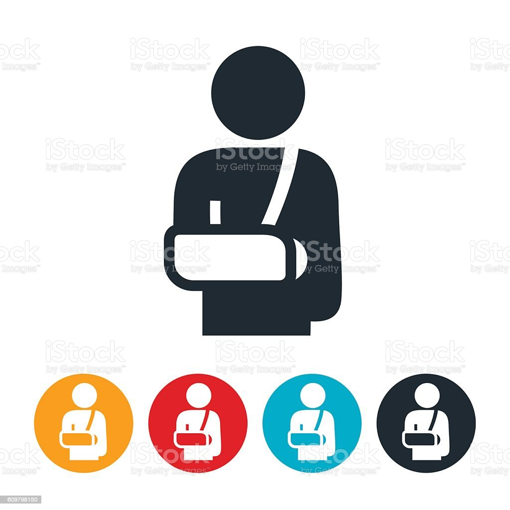 Person With Broken Arm Icon vector art illustration