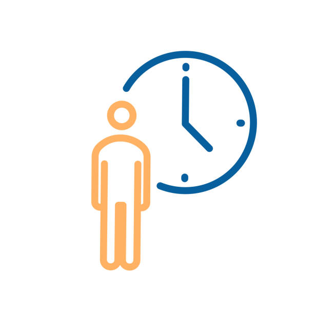 Person with clock icon. Vector thin line illustration for concepts of business, delivery, order, waiting, patience, appointments, events schedule Vector eps10 waiting stock illustrations