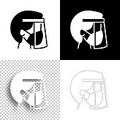 """Icon of """"Person with medical mask and face shield"""" for your own design. Four icons with editable stroke included in the bundle: - One black icon on a white background. - One blank icon on a black background. - One white icon with shadow on a blank background (for easy change background or texture). - One line icon with only a thin black outline (in a line art style). The layers are named to facilitate your customization. Vector Illustration (EPS10, well layered and grouped). Easy to edit, manipulate, resize or colorize. And Jpeg file of different sizes."""