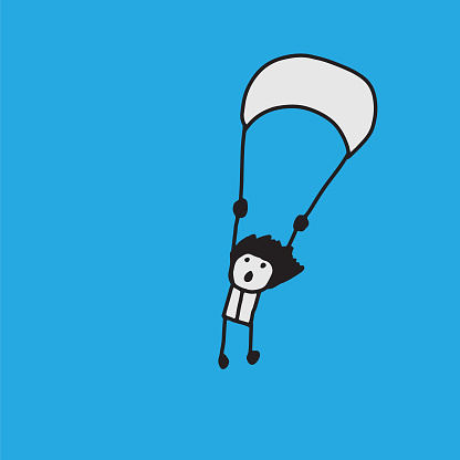 Person with parachute. Skydiver