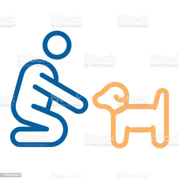 Person with small dog or puppy icon vector thin line illustration can vector id1003943354?b=1&k=6&m=1003943354&s=612x612&h=q mfm4fhz90dgwhmmnlycfa23i rsvnuxvfgtd9 7r8=