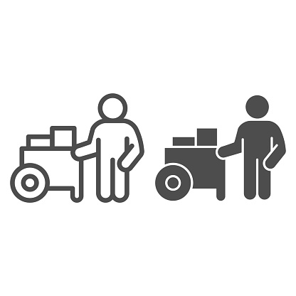 Person with street cart line and solid icon, Street food concept, Hot dog shop and salesman sign on white background, Street seller with stall icon in outline style for mobile, web. Vector graphics