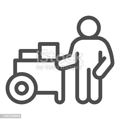 Person with street cart line icon, Street food concept, Hot dog shop and salesman sign on white background, Street seller with stall icon in outline style for mobile, web. Vector graphics
