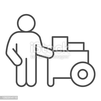 Person with street cart thin line icon, Street food concept, Hot dog shop and salesman sign on white background, Street seller with stall icon in outline style for mobile, web. Vector graphics