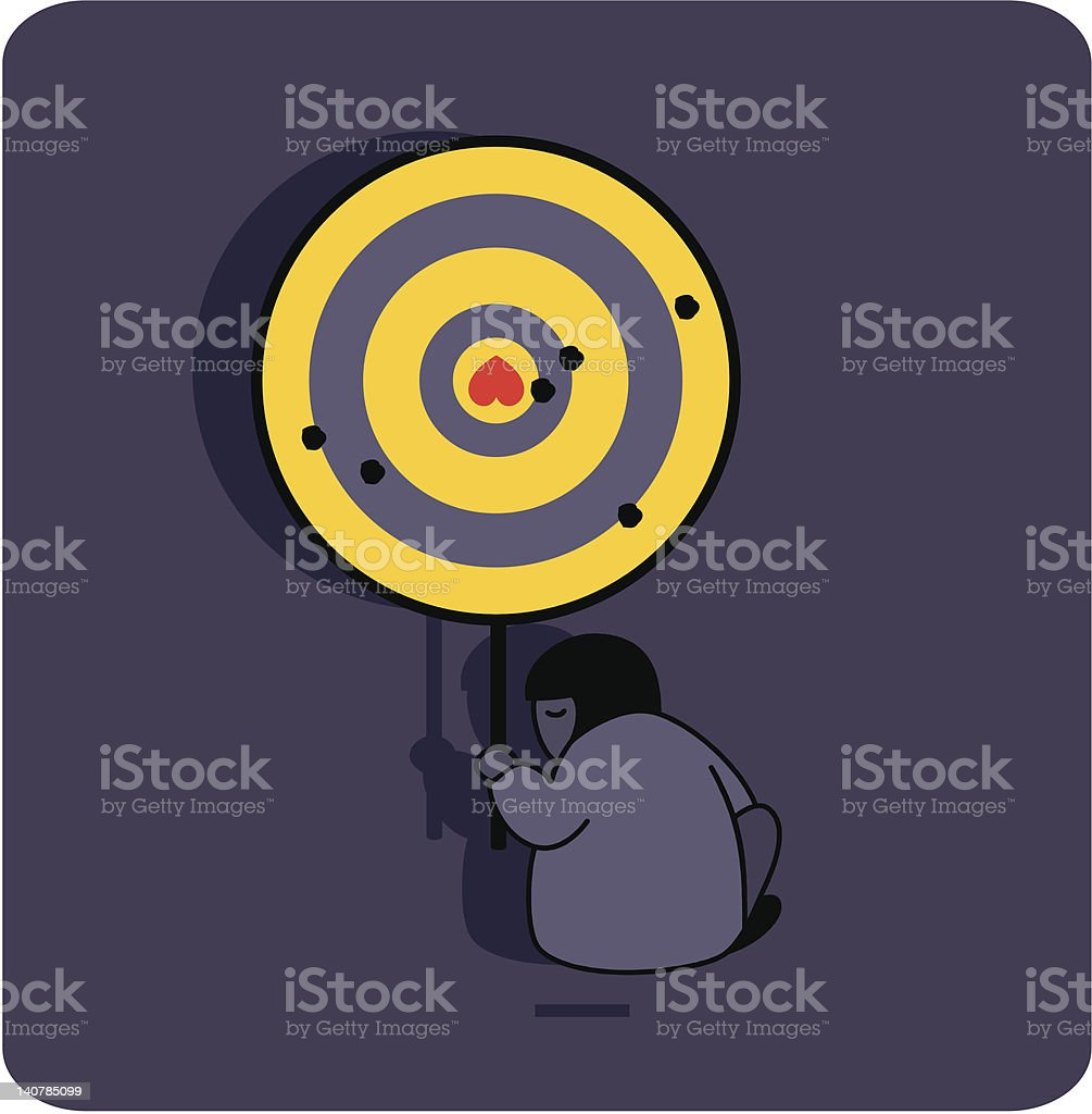 Person with the target and broken heart. royalty-free stock vector art