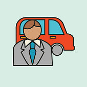 A thin line icon from a set of ride share and automotive icons. Person with Vehicle.