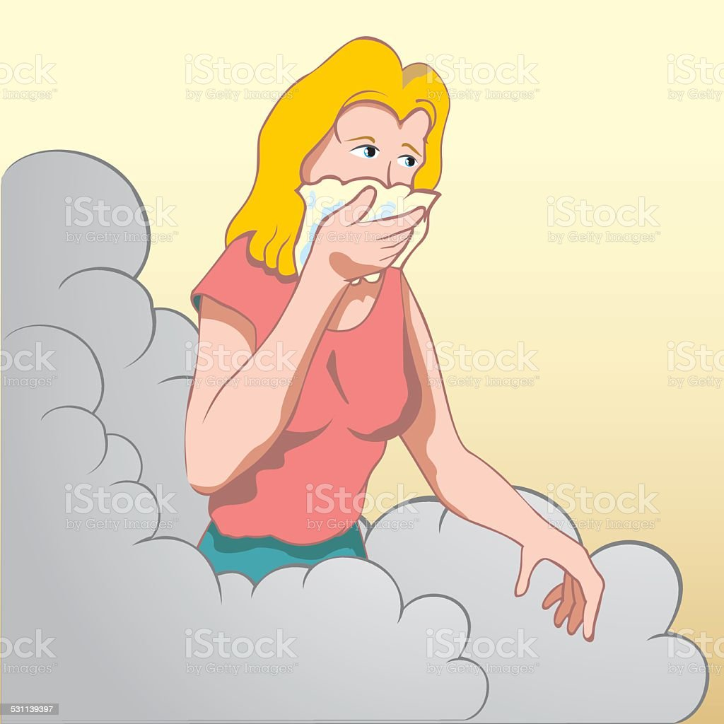 Person woman covering mouth and nose. vector art illustration