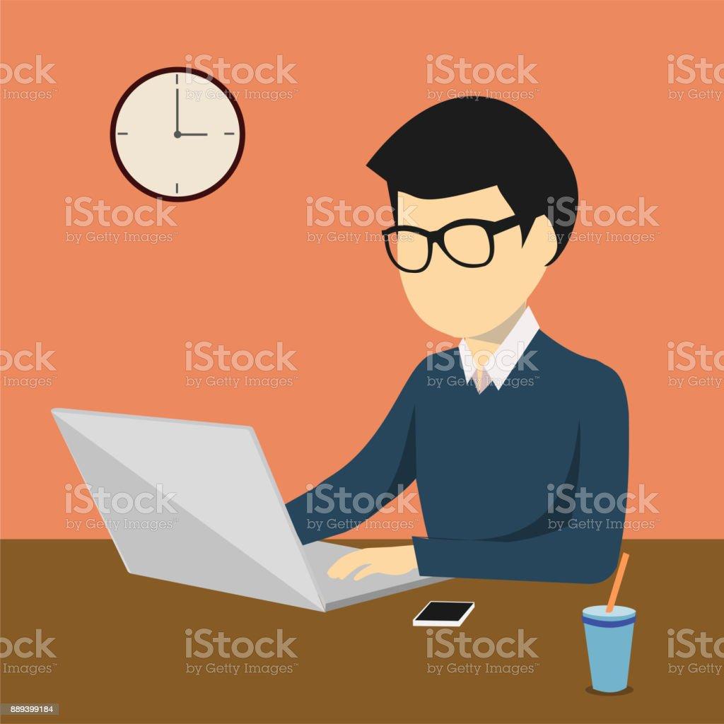 personne qui travaille sur un ordinateur fixe ou portable