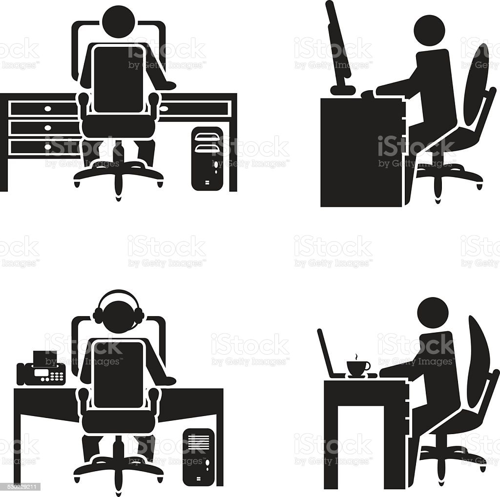 Person working on a computer vector illustration vector art illustration