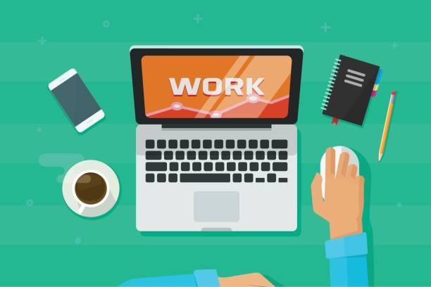 ilustrações de stock, clip art, desenhos animados e ícones de person working on laptop computer analyzing vector illustration, concept of freelancer hands on workplace - coffee table