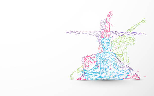 Person yoga exercise poses form lines, triangles and particle design Person yoga exercise poses form lines, triangles and particle design yoga stock illustrations