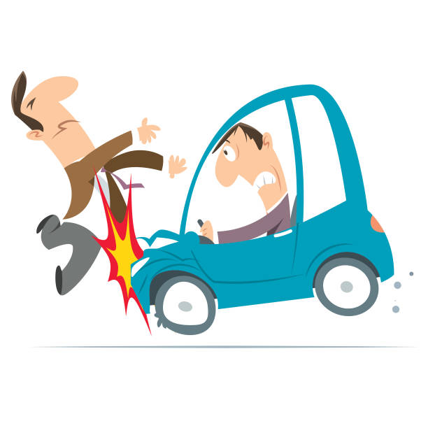 bildbanksillustrationer, clip art samt tecknat material och ikoner med personlig olycka med bil - krockad bil