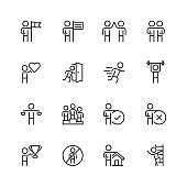 Personal and business concepts vector icon set in thin line style