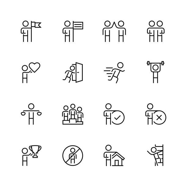 개인 및 비즈니스 개념 벡터 선 스타일에서 아이콘 세트 - 인간 속성 stock illustrations